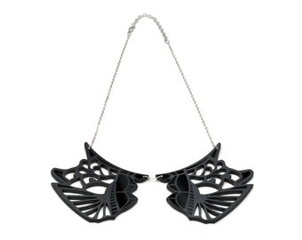 Irezumi Black Collar Necklace with silver chain