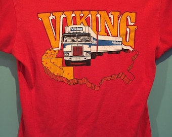 70s red Viking Trucker babydoll t-shirt vintage trucking southwestern graphic tee