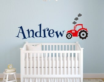 Tractor Name Wall Decal - Tractor Wall Decal - Custom Name Decal - Nursery Wall Decal - Baby Boy Room Decor Vinyl Wall Decal