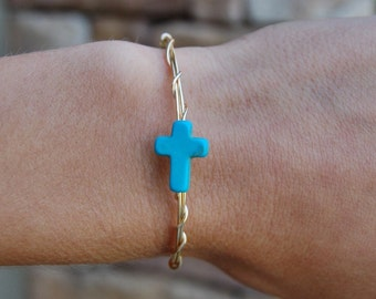 Cross Bracelet, Wire Wrapped Bracelet, Turquoise Cross, Gold Cross Bracelet, Wire Wrapped, Christian Jewelry, Christian, Wire Jewelry