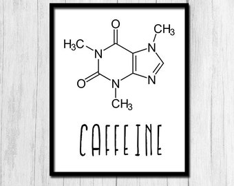 Caffeine Print Chemistry Art Instant Download Science Printables Caffeine Molecule Science Teacher Gift Chemistry Poster Science Poster