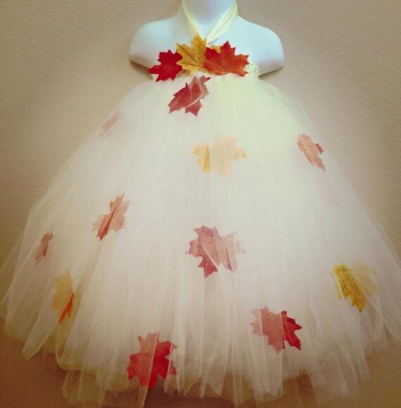 Fall Flower Girl Dress Ivory Tutu Dress Ivory Flower Girl