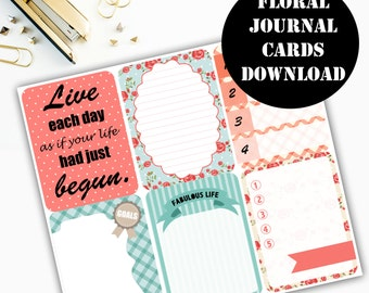 Floral Print Journaling Card Printable / Journal Cards / Scrapbook Kit / Journaling List / Listers Gotta List / Instant Download 00084