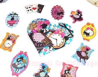 Glitter Flake Sticker Sacks. Alice in Wonderland Daily Diary Deco Stickers. For Filofax KIKKI.K Erin Condren Life Planner decorations.