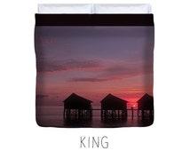 Purple duvet, purple bedding, beach decor, tropical, sunrise, sunset, holiday, vacation, purple bedroom decor, ocean decor, ocean duvet