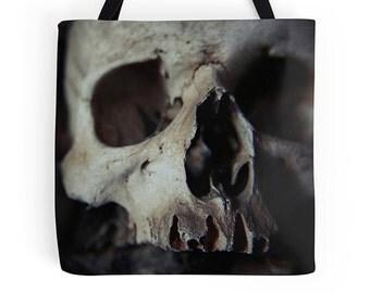 Gothic bag, gothic tote, skull bag, skull tote, school bag, college bag, photo bag, photo tote, wearable art, everyday bag, shoulder bag
