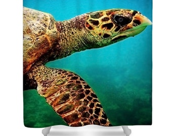 Turtle shower curtain, blue bathroom decor, green turtle, ocean shower curtain, tropical shower curtain, sea life, underwater, turquoise