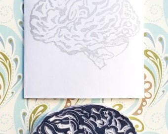 Brain stamp, brain hand carved stamp, brain rubber stamp, handmade stamp, card making supplies