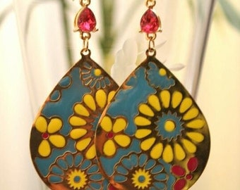 Pink, Yellow, Turquoise, and Gold Earrings-Flowers, Tear Drop, Large, Dangle, Girly, Chic, Fun, Festive