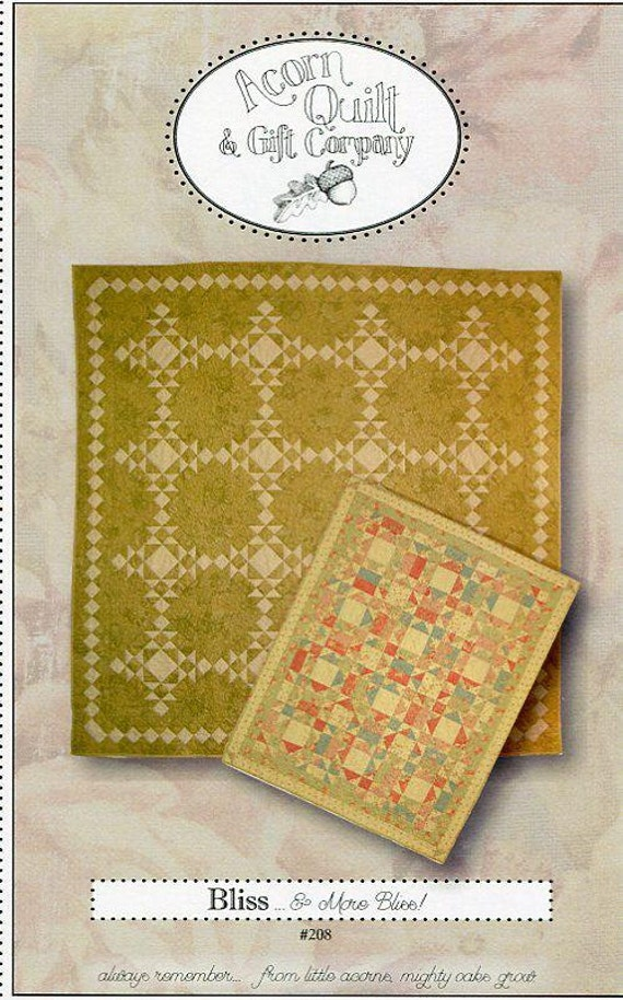 FREE US SHIP Quilt Pattern Fat Quarters Simple 9 Patch Acorn Quilt & Gift Company Bliss More 2006 Designer Brenda Riddle New unused 80x80
