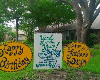 Custom writing sign in yard