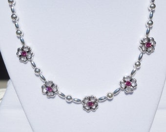 Silver plated bead necklace with Swarovski fuchsia spacers