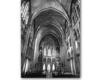 Vaulted Gothic cathedral photo print, Cathedral wall art, Gothic decor, Paris basilica, Church photography, Black and white, Paris decor