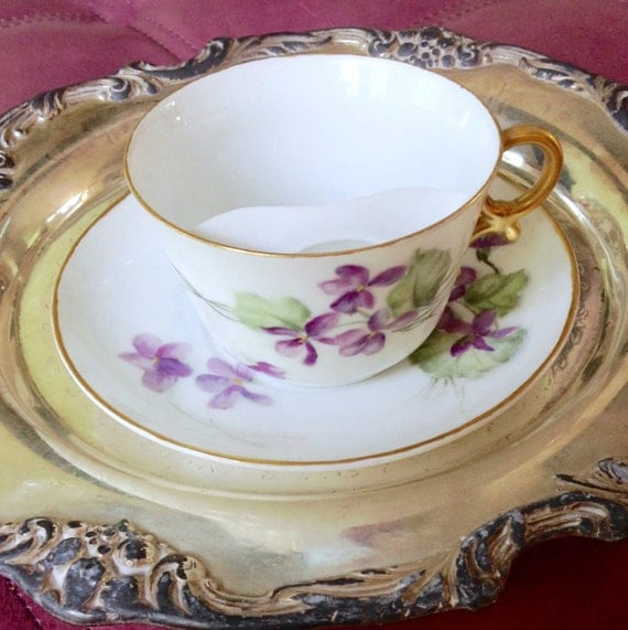 Antique Moustache Cup and Saucer T&V Limoges France Hand Painted Violets Teacup
