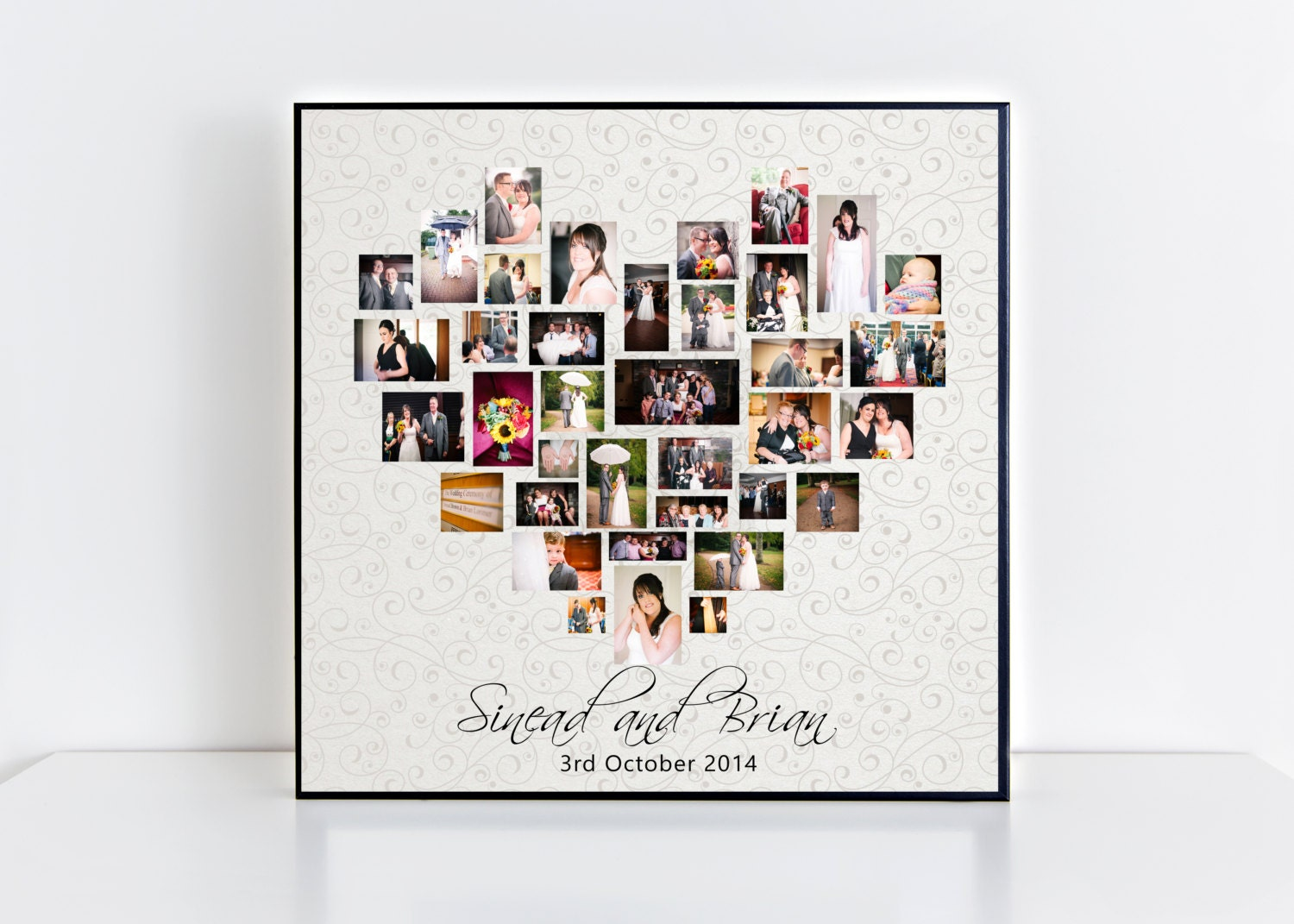 personalised wedding collage frame  plaque  heart photo