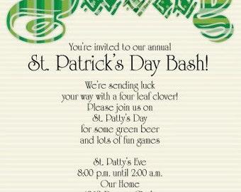 St Patricks Day, St Patricks Day Invitation, St Patricks Day Invite, Shamrock, Leprechaun, Irish Invitation, Invitation, Printable Invite