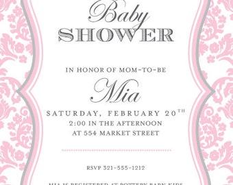 Darling Damask Light Pink Invitation, New Baby Shower, Party Invitation, Bridal Wedding Anniversary, Announcement, Digital Invitation,IV1384