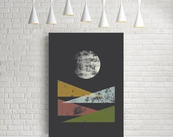 Moon print, abstract wall art, nordic design, minimalist print, modern wall art, moon poster, wall art, modern art, moon art print