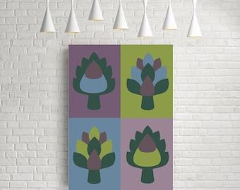 Scandinavian art, kitchen wall art, kitchen print, kitchen poster, kitchen art, mid century modern, kitchen decor, giclee, Artichoke print
