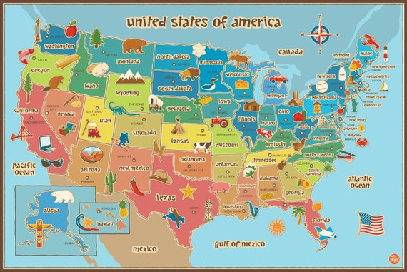 Kids Map Of America Dry Erase Wall Decal LARGE X - America map