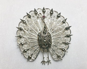 Antique, filigree silver 835 Peacock brooch tourmaline and Markasiten SB139