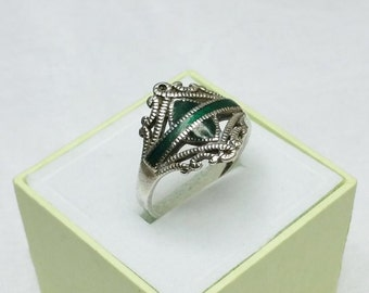 925 Silver ring with Malachite plate ring 19.5 mm SR573