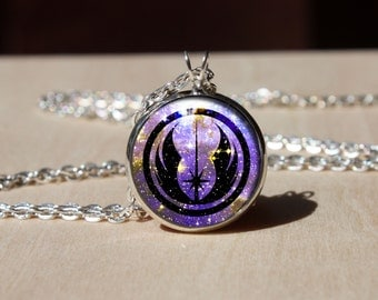 Handmade Necklace, Jedi Order Logo Emblem, Glass dome Pendant, gift for Her Him, nekel free jewelry