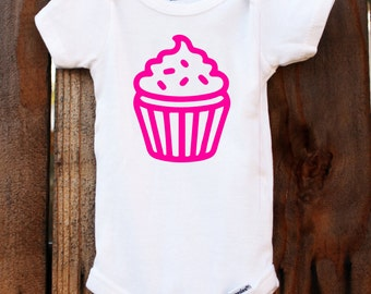 cupcake onesie dessert treat baby customizable colors vinyl