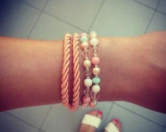 Women's wrap peach pastel rope bracelet Women crystal layered bracelet Wrap rope bracelet for women