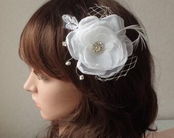 Ivory Bridal Flower Hair Clip Wedding Accessory Crystals Feathers Bridal Fascinator Bridal Accessory  Wedding Hair Accessory