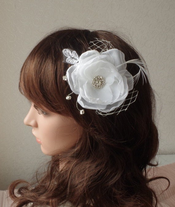 Bridal Ivory Flower Hair Accessories : Ivory bridal flower hair clip wedding accessory crystals
