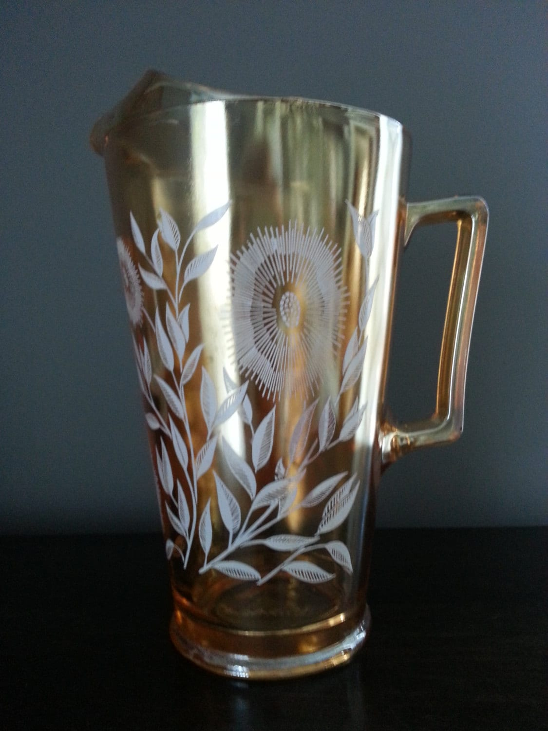 Vintage Amber Carnival Glass Pitcher White Flowers Jeanette
