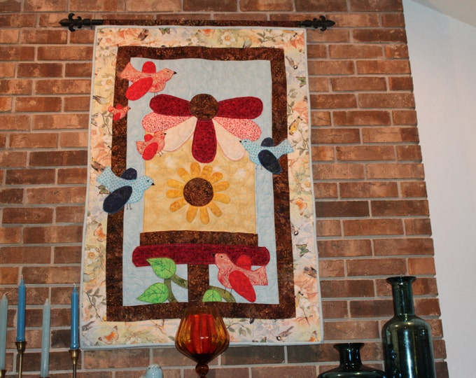 Wallhanging, bird wallhanging, bird quilt, Wall decor, Bird art, Bird picture, Tapestry of Birds, Wall hanging