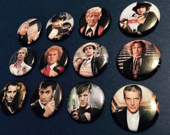 Doctor Who - The Doctor Complete Button Set  *includes the War Doctor*