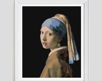 Girl with the pearl earing Cross stitch pattern, painting cross stitch pattern, painting counted cross stitch pattern, pearl earing stitch
