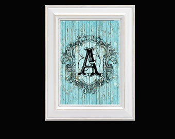 """A""""  Ocean Cottage Blue MONOGRAM TYPOGRAPHY Alphabet Each Letter is Digital 8X10 Print with Beautiful Shabby Distressed Wood Background"""