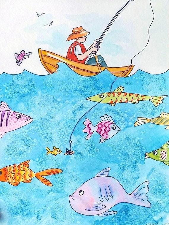 painting boy fishing original nursery art funny cute fish kids