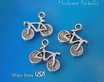Bicycle Charms (10), Tibetan Silver Little Bike Charms, Miniature Bicycle, Sport Theme Charms,  Transportation Theme Charms, Tiny Bike