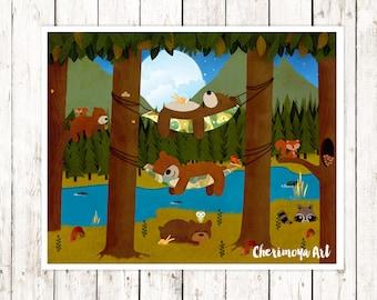 Woodland Nursery Art  Childrens Wall Art Woodland Nursery Decor Woodland Art Print Bear Nursery Print Forest Nursery Decor Kids gift