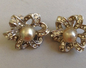 Faux Pearl and Rhinestone Silver Tone Clip Earrings