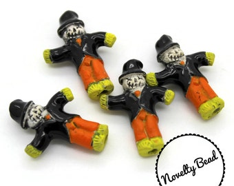 4 - Small - Scarecrow Beads - Halloween Beads - Fall Beads - Novelty Beads - Ceramic