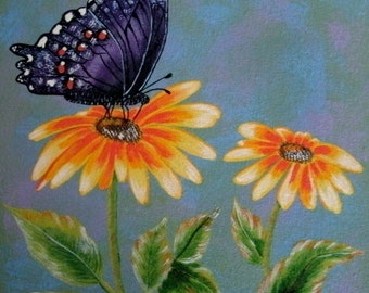 Butterfly On Flower Painting, fine art, original, realism, home decor, nature, garden, botanical, floral, cottage chic, french country