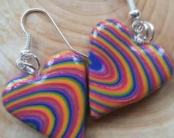 rainbow heart earrings