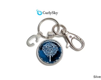 Navy Blue Keychain Blue Tree Keychain Accessory - Blue Navy Keychain Blue Tree Keychain Blue Navy Keychain Accessory Navy Blue Tree Keychain