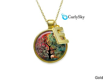 Tattered Necklace Black Tree Necklace Tattered Colors Necklace Tattered Tree Necklace Tattered Painting Necklace Art Tree Necklace Pendant