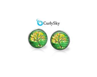 Yellow Tree Studs Yellow Tree Earrings - Yellow and green tree earring studs Green stud earrings Green Yellow Stud Earrings Yellow Tree Stud