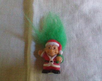 """Vintage Russ Troll Doll Green Hair Santa Claus Christmas Trolls 1"""" mini"""