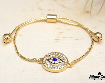 Gold Evil Eye Crystal Adjustable Bracelet