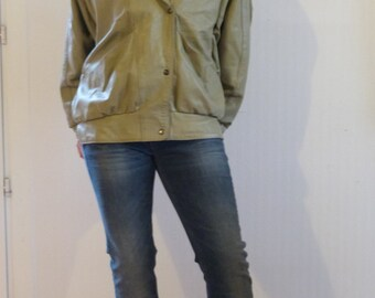 Khaki Leather Jacket from the 80's