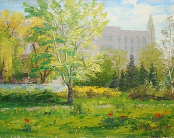 VINTAGE ORIGINAL Oil Painting Spring Landscape by a Soviet Ukrainian artist Zolotorev E.1999 Signed Fine Art Handmade Artwork Trees Painting
